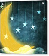 Moon And Stars Acrylic Print by Setsiri Silapasuwanchai