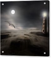 Moonlight Lighthouse Acrylic Print by Lourry Legarde