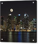 Moonrise Over San Diego Acrylic Print by Sandra Bronstein