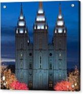 Mormon Temple Christmas Lights Acrylic Print by Utah Images