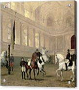 Morning Exercise In The Hofreitschule Acrylic Print by Julius von Blaas