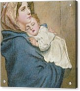 Mother And Child Acrylic Print by English School