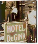 Moving Hotel Degink Acrylic Print by Padre Art
