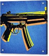 Mp5 Sub Machine Gun On Blue Acrylic Print by Michael Tompsett
