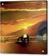 Mq-1 Predator Titled Anytime Anyplace Acrylic Print by Todd Krasovetz