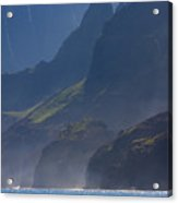 Na Pali Morning Mist Acrylic Print by Mike  Dawson