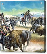 Native American Indians Killing American Bison Acrylic Print by Ron Embleton