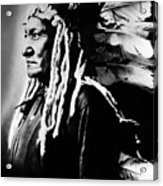 Native American Sioux Chief Sitting Acrylic Print by Everett