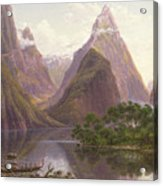 Native Figures In A Canoe At Milford Sound Acrylic Print by Eugen von Guerard