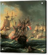 Naval Combat Between The Rights Of Man And The English Vessel Indefatigable And The Frigate Amazon Acrylic Print by Leopold Le Guen