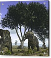 Nedoceratops Graze Beneath A Giant Oak Acrylic Print by Walter Myers
