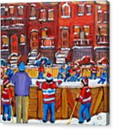 Neighborhood  Hockey Rink Acrylic Print by Carole Spandau