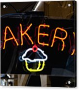 Neon Bakery Sign Acrylic Print by Inti St. Clair