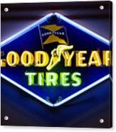 Neon Goodyear Tires Sign Acrylic Print by Mike McGlothlen