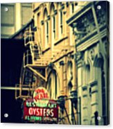 Neon Oysters Sign Acrylic Print by Perry Webster