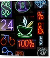 Neon Sign Series Of Various Symbols Acrylic Print by Michael Ledray