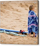 Never Too Young To Surf Acrylic Print by Denis Dore