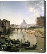 New Rome With The Castel Sant Angelo Acrylic Print by Silvestr Fedosievich Shchedrin