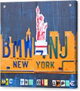 New York City Skyline License Plate Art Acrylic Print by Design Turnpike