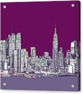 New York In Purple Acrylic Print by Lee-Ann Adendorff