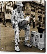 Newspaper Man Acrylic Print by Rob Hawkins