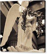 Nike Goddess Of Victory Sepia Acrylic Print by Linda Phelps