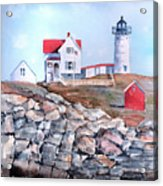 Nubble Lighthouse - Maine Acrylic Print by Arline Wagner