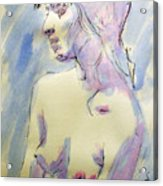 Nude Portrait Drawing Sketch Of Young Nude Woman Feeling Sensual Sexy And Lonely Watercolor Acrylic Acrylic Print by M Zimmerman