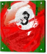 Number Three Billiards Ball Abstract Acrylic Print by David G Paul