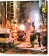 Nyc At Night Acrylic Print by Anthony Caruso