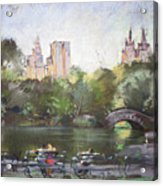 Nyc Resting In Central Park Acrylic Print by Ylli Haruni
