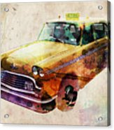 Nyc Yellow Cab Acrylic Print by Michael Tompsett