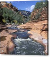 Oak Creek Flowing Through The Red Rocks Acrylic Print by Rich Reid