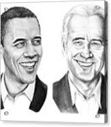 Obama Biden Acrylic Print by Murphy Elliott