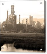 Oil Refinery Industrial Plant In Martinez California . 7d10364 . Sepia Acrylic Print by Wingsdomain Art and Photography