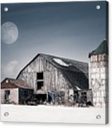Old Barn And Winter Moon - Snowy Rustic Landscape Acrylic Print by Gary Heller