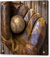 Old Baseball Mitt And Ball Acrylic Print by Garry Gay