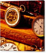 Old Books And Pocket Watches Acrylic Print by Garry Gay