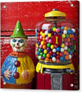 Old Clown Toy And Gum Machine  Acrylic Print by Garry Gay