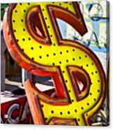 Old Dollar Sign Acrylic Print by Garry Gay