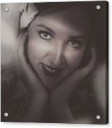Old Film Noir Photo On The Face Of A 1920s Lady Acrylic Print by Jorgo Photography - Wall Art Gallery