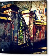 Old Iron Gate In Charleston Sc Acrylic Print by Susanne Van Hulst