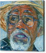 Old Man Wearing A Hat Acrylic Print by Xueling Zou