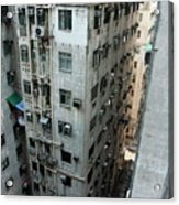 Old Run-down Concrete High-rise Apartment Buildings In Kowloon Acrylic Print by Sami Sarkis