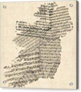 Old Sheet Music Map Of Ireland Map Acrylic Print by Michael Tompsett