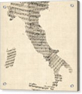Old Sheet Music Map Of Italy Map Acrylic Print by Michael Tompsett