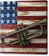 Old Trumpet On American Flag Acrylic Print by Garry Gay