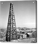 Old Wooden Derrick Acrylic Print by Larry Keahey