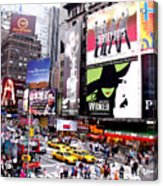 On Broadway New York Acrylic Print by Rosie Brown