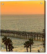 On Golden Pier Acrylic Print by Gary Zuercher